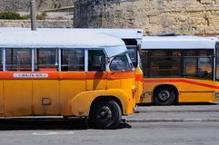 Legendary and iconic Malta public buses. The legendary and iconic Malta public buses in the Valletta city bus station in Malta April 17, 2011 Stock Photography