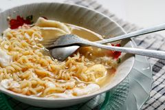 Fork and Spoon on Boiled Noodle Still Life Royalty Free Stock Image
