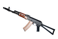 Legendary Kalashnikov, AK-74. Modern rifle of Russ. Legendary Kalashnikov. Modern rifle of Russian Army. Isolated on white background. Focus on wooden parts stock photography
