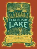 Legendary Lake. Woodcut style illustration of a rustic label about legendary creatures. This file is layered to allow easier editing Stock Photography