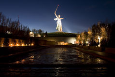 Legendary Mamayev Kurgan. Russia. Night Volgograd. A Second World War monument - Mother the Native land (Mamayev Kurgan Stock Images
