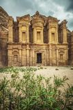 Legendary monastery in petra. View of the legendary monastery hidden by the rocky hills where it is excavated. Located in the picturesque.city ​​of stock image