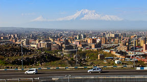 Legendary mount Ararat and Yerevan city. Stock Photography