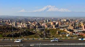Legendary mount Ararat and Yerevan city. Legendary mount Ararat and Yerevan city,Transcaucasia,Armenia Stock Photography