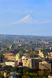 Legendary mount Ararat and Yerevan city. Royalty Free Stock Photos