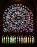 The legendary Notre Dame Cathedral is located in the center of Paris on the island of Cité. Before the terrible fire was famous f. Or its stained glass stock photos