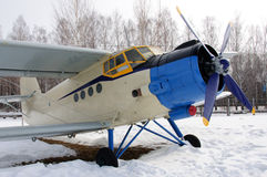 Legendary old-fashioned small plane. This is legendary small plane AN2. The photo was taked in winter 2013 in Ulyanovsk region, Russia. General view of plane on Stock Photography