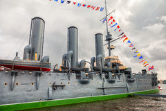 The legendary revolutionary cruiser Aurora at the place of etern Stock Images
