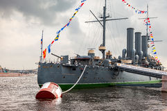 The legendary revolutionary cruiser Aurora at the place of etern Stock Photos
