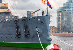 The legendary revolutionary cruiser Aurora at the place of etern Stock Photography