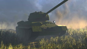 Legendary Russian Tank T 34 Front view stock footage
