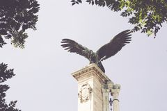 Legendary statue of Bird in the Royal Castle stock images