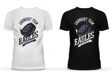 Legendary university hockey team logo with puck on t-shirt. Eagles team limited exclusive edition of clothing or sportswear. May be used for shops and sport Royalty Free Stock Photos