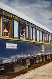 The legendary Venice Simplon Orient Express. Ruse city, Bulgaria - August 29, 2017. The legendary Venice Simplon Orient Express is ready to depart from Ruse stock photography