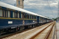 The legendary Venice Simplon Orient Express. Ruse city, Bulgaria - August 29, 2017. The legendary Venice Simplon Orient Express is ready to depart from Ruse stock photo