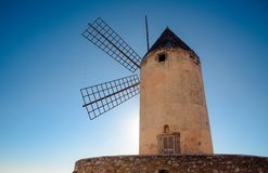 Palma de Mallorca / Spain - Legendary windmill. Legendary windmill. with the blue sky in the background in Majorca island Stock Images