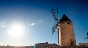 Legendary windmill. With the blue sky in the background. Palma de Mallorca. Spain royalty free stock photo