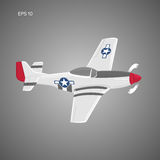 Legendary WWII american fighter aircraft. Single piston engine war machine vector illustration Stock Photos