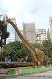 Legendas da exposição gigante dos dinossauros em Hong Kong Imagem de Stock Royalty Free