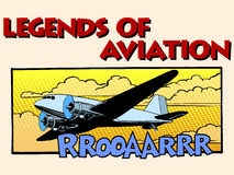 Legends of aviation abstract retro airplane Stock Images