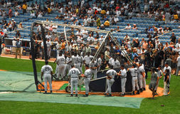Legends Batting Practice. Retired members of the New York Yankees take batting practice at Old Yankee Stadium, before the start of an Old-Timers game Stock Photography