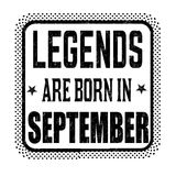 Legends are born in september vintage emblem or label. On white background, vector illustration Royalty Free Stock Photo
