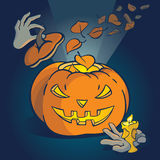 Legends of the Fall. Cute vector illustration with cartoon Halloween Pumpkin royalty free illustration