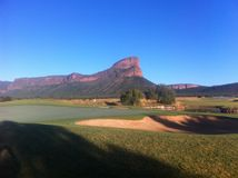 Legends Golf Coarse, South Africa. A beautiful picture of the glorious mountain peak in which golfers tee off at the wonderful Legends golf resort in Limpopo Royalty Free Stock Photography