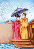 Chinese myths and legends:Lady Wihte and Xu Xian Stock Photo