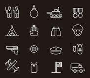 Leger en militaire pictogrammen Royalty-vrije Stock Foto