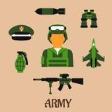 Leger, militair en militaire vlakke pictogrammen Royalty-vrije Stock Afbeeldingen