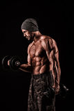 Leger, militaire, sterke mens, gewichten, het uitoefenen, gymnastiek royalty-vrije stock foto's