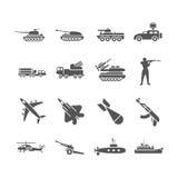 Leger, militaire vector geplaatste pictogrammen Stock Afbeelding
