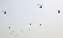 Legerhelikopters bij airshow royalty-vrije stock foto