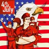 Legermens op vierde van van de de Onafhankelijkheidsdag van Juli de Gelukkige achtergrond van Amerika Royalty-vrije Stock Fotografie