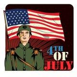 Legermens op vierde van van de de Onafhankelijkheidsdag van Juli de Gelukkige achtergrond van Amerika Stock Afbeelding