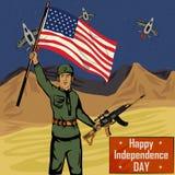 Legermens op vierde van van de de Onafhankelijkheidsdag van Juli de Gelukkige achtergrond van Amerika Stock Fotografie