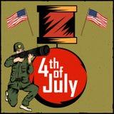 Legermens op vierde van van de de Onafhankelijkheidsdag van Juli de Gelukkige achtergrond van Amerika Royalty-vrije Stock Afbeeldingen