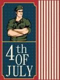 Legermens op vierde van van de de Onafhankelijkheidsdag van Juli de Gelukkige achtergrond van Amerika Stock Foto's