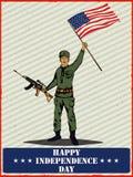 Legermens op vierde van van de de Onafhankelijkheidsdag van Juli de Gelukkige achtergrond van Amerika Stock Afbeeldingen