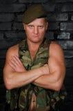 Legermilitair Portret van een volwassen oorlog stock fotografie