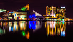 The Legg Mason Building and National Aquarium at night, in the I royalty free stock image