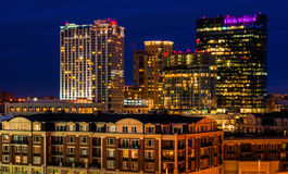 Legg Mason Building and others during twilight from Federal Hill, Baltimore, Maryland. Stock Photos