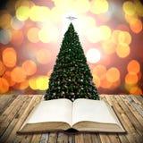 Legga la bibbia nel giorno di Natale Immagine Stock Libera da Diritti