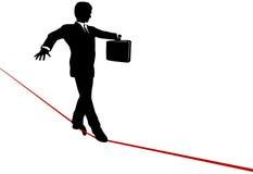 Legge dell'equilibrio dell'uomo di affari sulla corda per funamboli di rischio illustrazione vettoriale