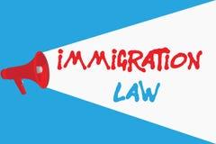 Legge di immigrazione del testo di scrittura di parola Il concetto di affari per emigrazione di un cittadino sarà legale nella fa royalty illustrazione gratis