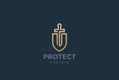 Legge di spada dello schermo di vettore di Logo dell'avvocato dell'avvocato legale Immagine Stock Libera da Diritti