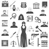 Legge e giustizia Black Icons insieme Immagine Stock Libera da Diritti