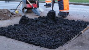 Leggend Asphalt In Pothole stock videobeelden