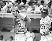 Leggende, Johnny Bench e Tom Seaver immagini stock